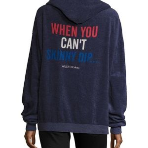 Wildfox When You Can't Skinny Dip Hoodie Blue M